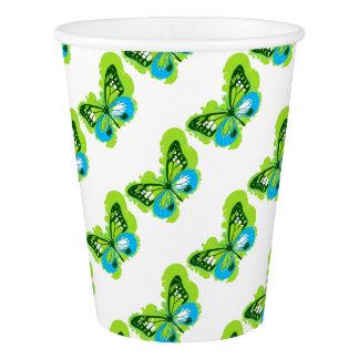 Pop Art Green Butterfly Paper Cup