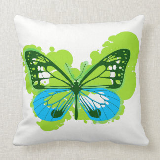 Pop Art Green Butterfly Pillow