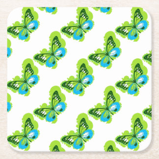 Pop Art Green Butterfly Square Paper Coaster