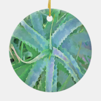 Pop Art Grey Green Aloe Ceramic Ornament