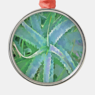 Pop Art Grey Green Aloe Metal Ornament