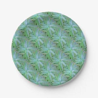 Pop Art Grey Green Aloe Paper Plate