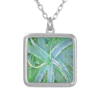 Pop Art Grey Green Aloe Silver Plated Necklace