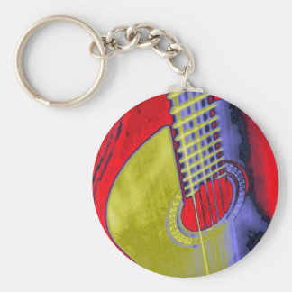 Pop Art Guitar Keychain