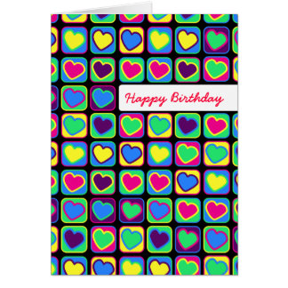 Pop art  hearts Happy Birthday greeting card