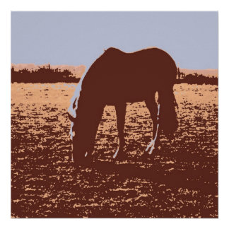 Pop Art Horse Grazing Poster