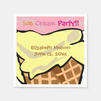 Pop Art Ice Cream Party Custom Disposable Napkin