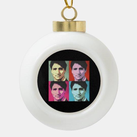 Pop Art Justin Trudeau - Full Size -.png Ceramic Ball Ornament