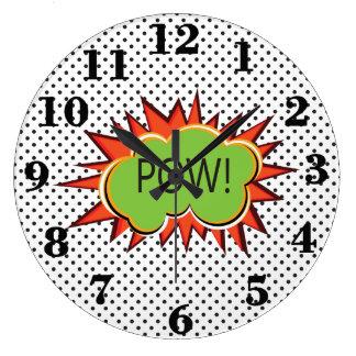 Pop art Kaboom typography retro style Large Clock