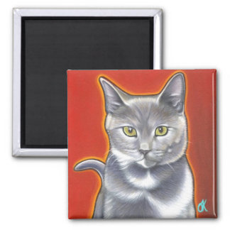 Pop Art Kitty Magnent Square Magnet