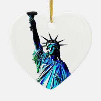 Pop Art Lady Liberty Ceramic Heart Ornament