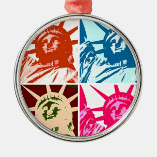 Pop Art Lady Liberty Silver-Colored Round Ornament