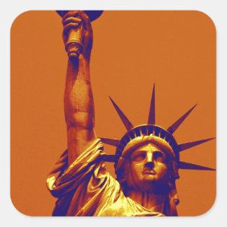 Pop Art Lady Liberty Square Sticker