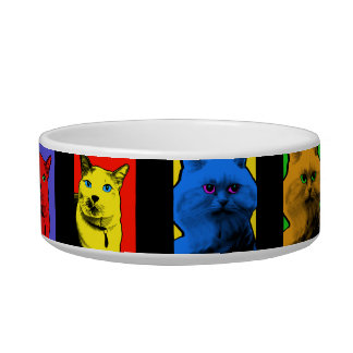 Pop Art Long And Short Haired Cats Bowl