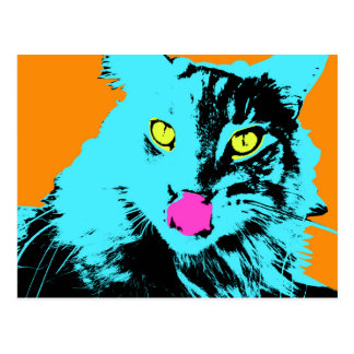 Pop Art Maine Coon Cat Postcard