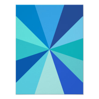 Pop Art Modern 60s Funky Geometric Rays in Blue Poster