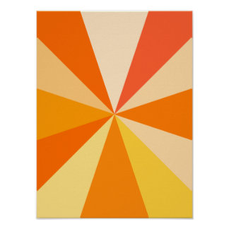Pop Art Modern 60s Funky Geometric Rays in Orange Poster