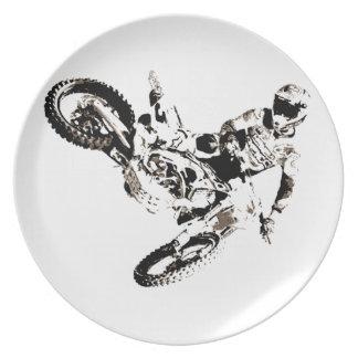 Pop Art Motocross Motorcyle Sport Party Plate