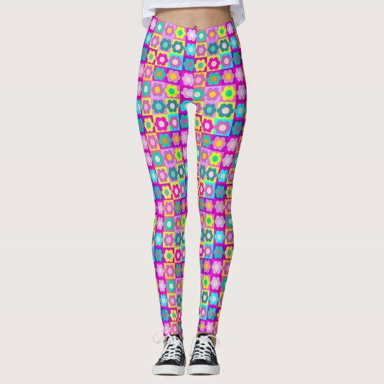 Pop art multi colour floral leggings