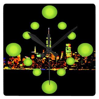 Pop Art NYC Night City New York Square Wall Clock