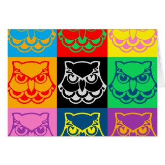 Pop Art Owl Face Card