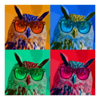 Pop art owl poster