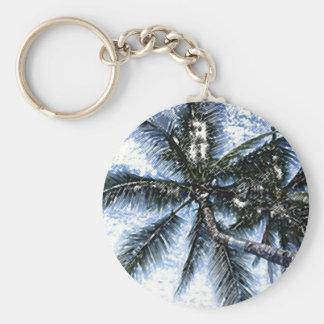 Pop Art Palm Tree Basic Round Button Keychain