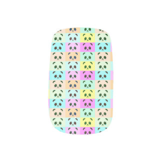 Pop Art Panda Bear Pink Blue Orange Yellow Black Minx Nail Art