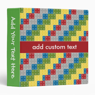 Pop Art Pattern Colorful Bricks for Boys Binder