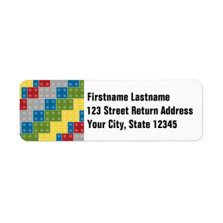 Pop Art Pattern Colorful Bricks for Boys Return Address Label