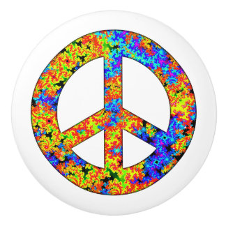 Pop Art Peace Symbol Door Knob