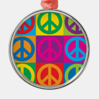 Pop Art Peace Symbols Metal Ornament