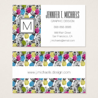 Pop Art Pineapples And Palm Leaves Business Card