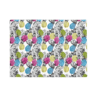 Pop Art Pineapples And Palm Leaves Doormat