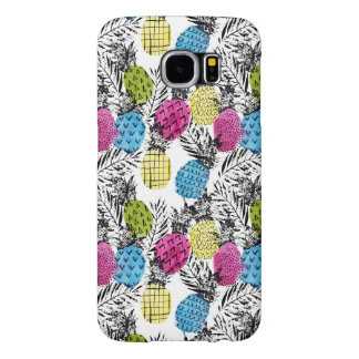 Pop Art Pineapples And Palm Leaves Samsung Galaxy S6 Cases