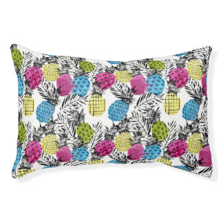 Pop Art Pineapples And Palm Leaves Small Dog Bed