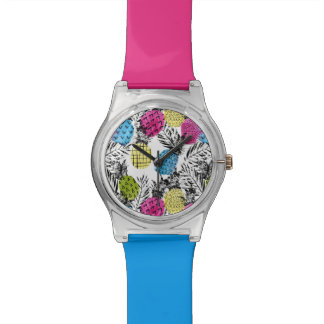 Pop Art Pineapples And Palm Leaves Watches