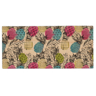 Pop Art Pineapples And Palm Leaves Wood USB 2.0 Flash Drive