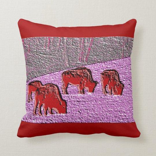 Pop Art Pink Buffalo Throw Pillow