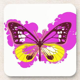 Pop Art Pink Butterfly Coasters