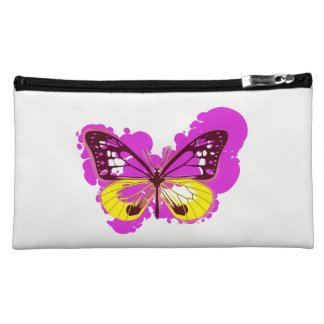 Pop Art Pink Butterfly Cosmetics Bag