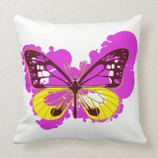 Pop Art Pink Butterfly Pillow