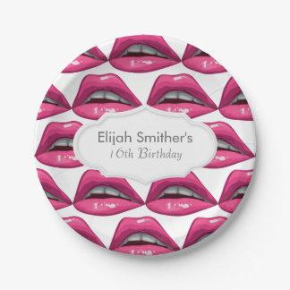 Pop Art Pink Lips Makeup Paper Plate