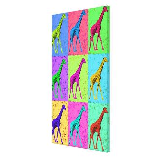 Pop Art Popart Walking Giraffe Multi-Color Canvas Print