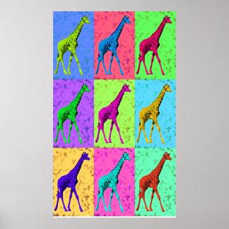 Pop Art Popart Walking Giraffe Multi-Color Posters