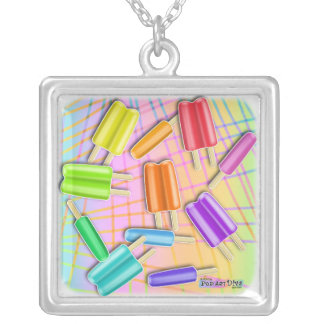 POP ART POPSICLES SILVER PLATED NECKLACE
