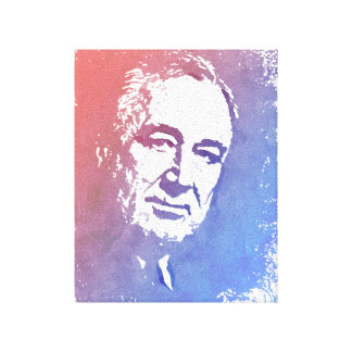Pop Art Portrait of FDR in Red and Blue Canvas Print