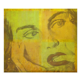 Pop Art Poster with Vintage Female Face