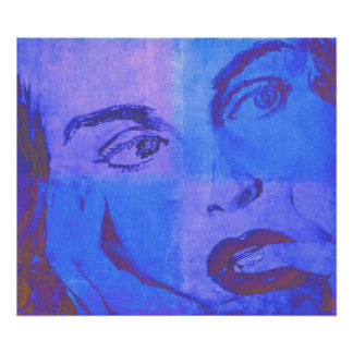 Pop Art Poster with Vintage Female Face in Blue