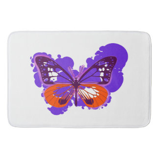 Pop Art Purple Butterfly Bath Mat